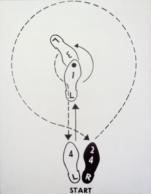 "Andy Warhol - Dance Diagram [3] [""The Lindy Tuck-In Turn-Man""], 1962, casein on linen"