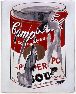 Andy Warhol - Small Torn Campbell's Soup Can (Pepper Pot), 1962, casein, gold paint, and graphite on linen