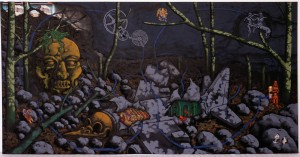 David Wojnarowicz - Late Afternoon in the Forest, 1986, acrylic, spraypaint and collage on muslin