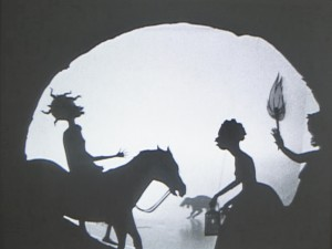 Kara Walker - Testimony: Narrative of a Negress Burdened by Good Intentions, 2004, black and white video, no audio and framed cut paper sillhouette