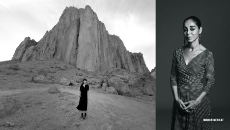 Photo of artist Shirin Neshat and video still from her video, Land of Dreams