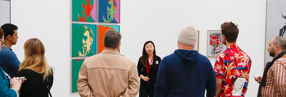 Photo of visitors in the Andy Warhol Gallery at The Broad