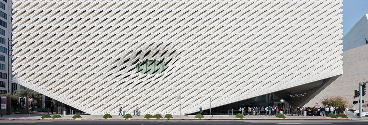 Image of a photograph by photographer Mike Kelley of the exterior of The Broad museum on Grand Avenue in downtown Los Angeles