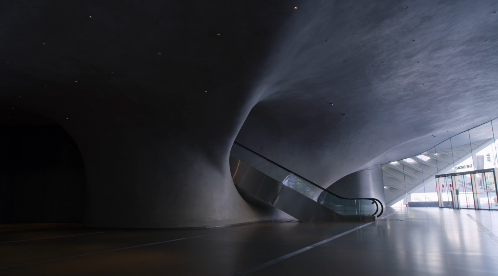 Still image of The Broad's museum lobby from Clarissa Tossin's film, Light and Space