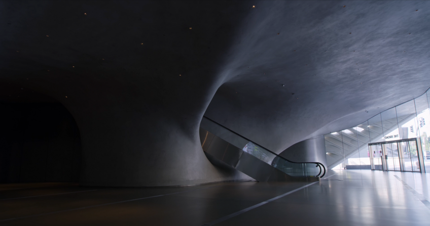still of The Broad museum from Clarissa Tossin's film Light and Space