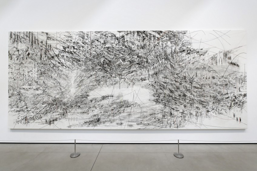 installation view of Julie Mehretu's Cairo at The Broad