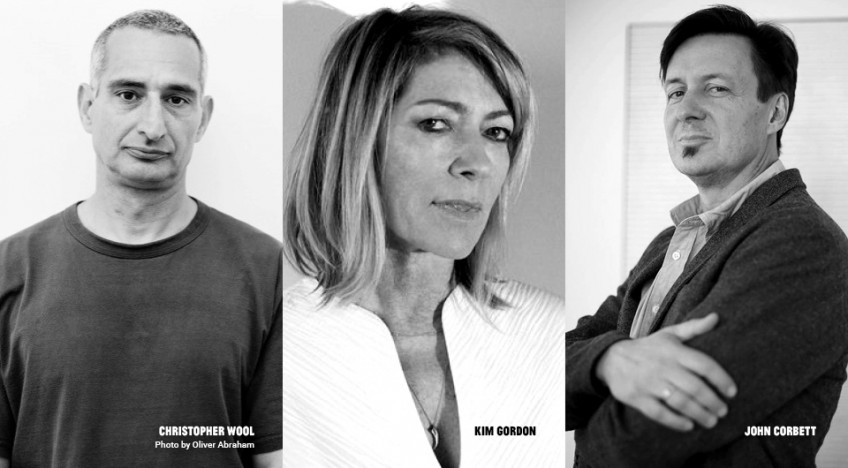 Collaged image of Christopher Wool, Kim Gordon, and John Corbett